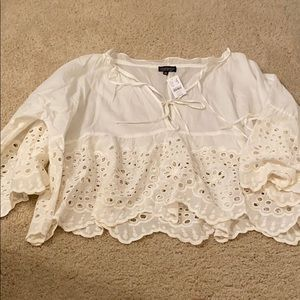 Topshop White Lace Broderie Anglaise Top S NWT